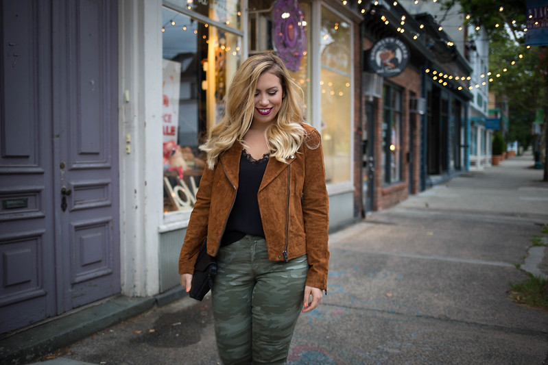 Fall Suede Camo Outfit Blonde Jackie Giardina Blogger