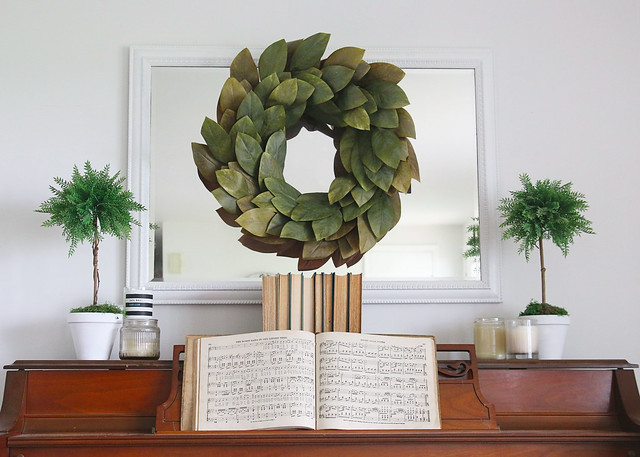 Piano Decor Magnolia Wreath