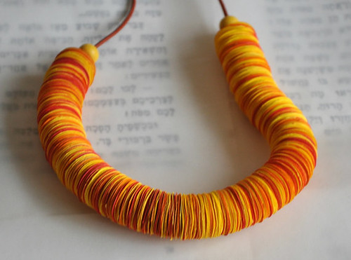 Orange and Yellow Paper Necklace with Glass Beads and Leather Cord by My Paper Tale