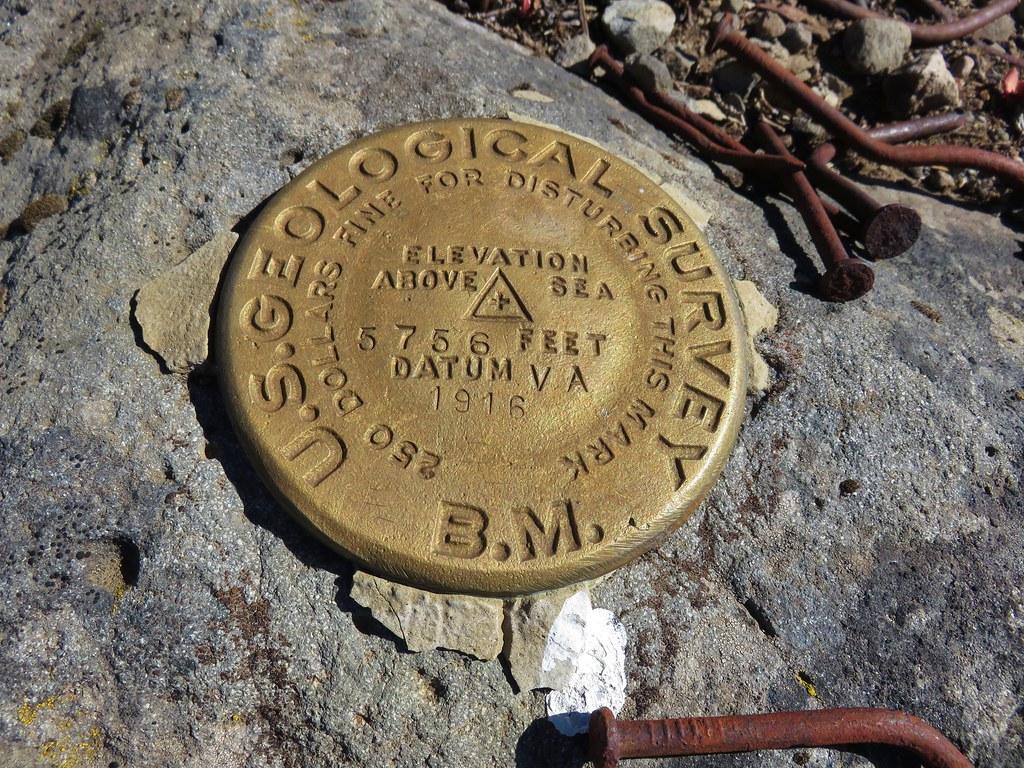 Survey marker on Chucksney Mountain