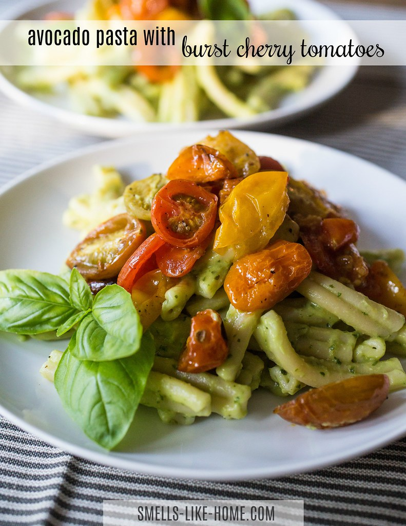 Avocado Pasta with Burst Cherry Tomatoes