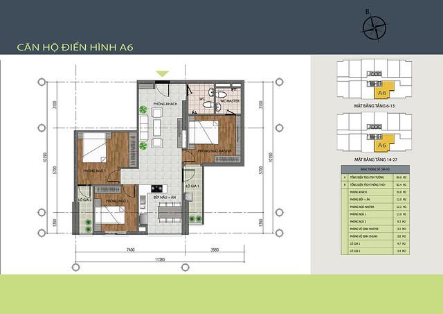Mặt bằng chi tiết căn A6 dự án Hồng Hà Tower - Chung cư 89 Thịnh Liệt
