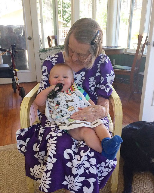 Mr. Baby with Great-Grandma Frances. 💜