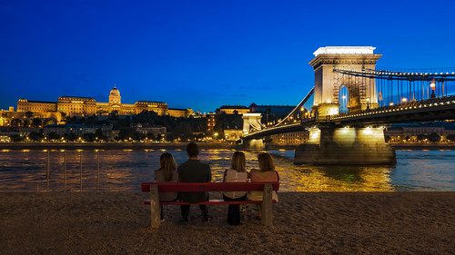budapest people bridge chain hdr dri bench buda castle night bluehour sky architecture