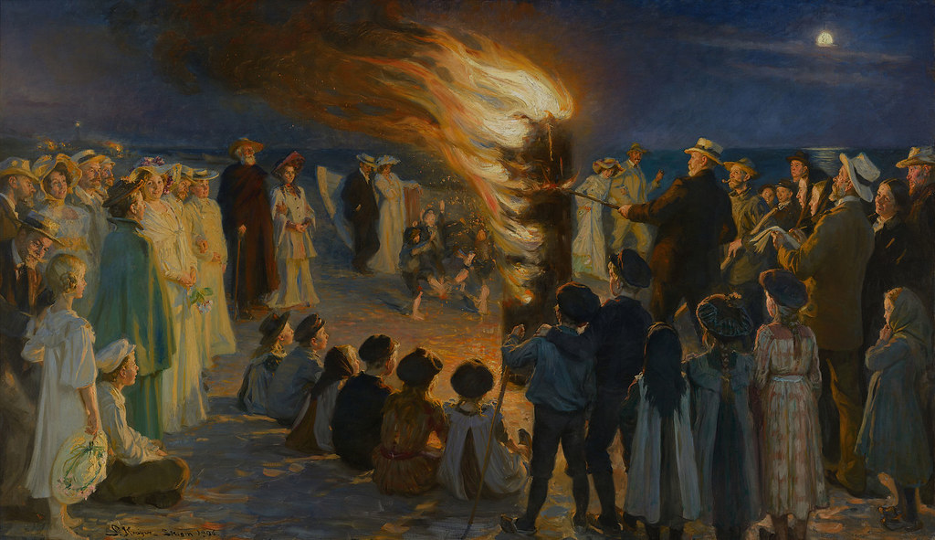 Midsummer Eve bonfire on Skagen's beach by P.S. Krøyer, 1906