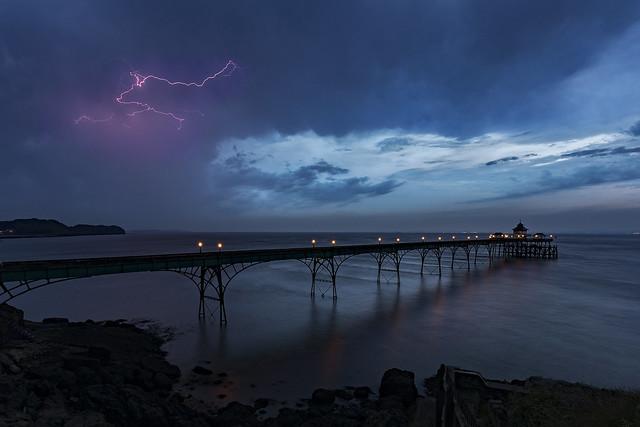 5am Lightning Storm over Clevedon Pier, Somerset