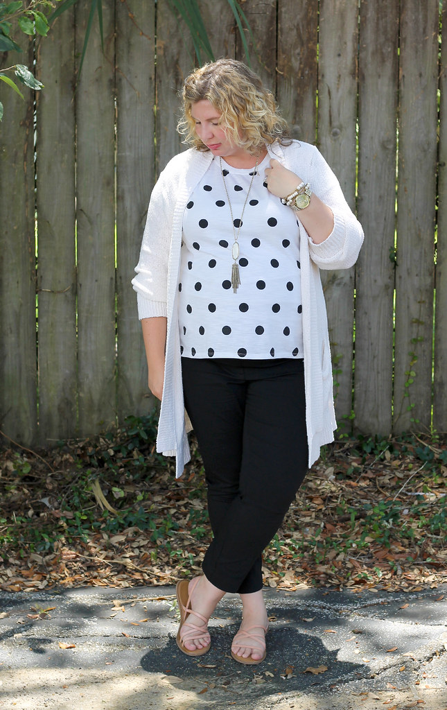maternity black pants, white and black polka dot tee, long cream cardigan 3