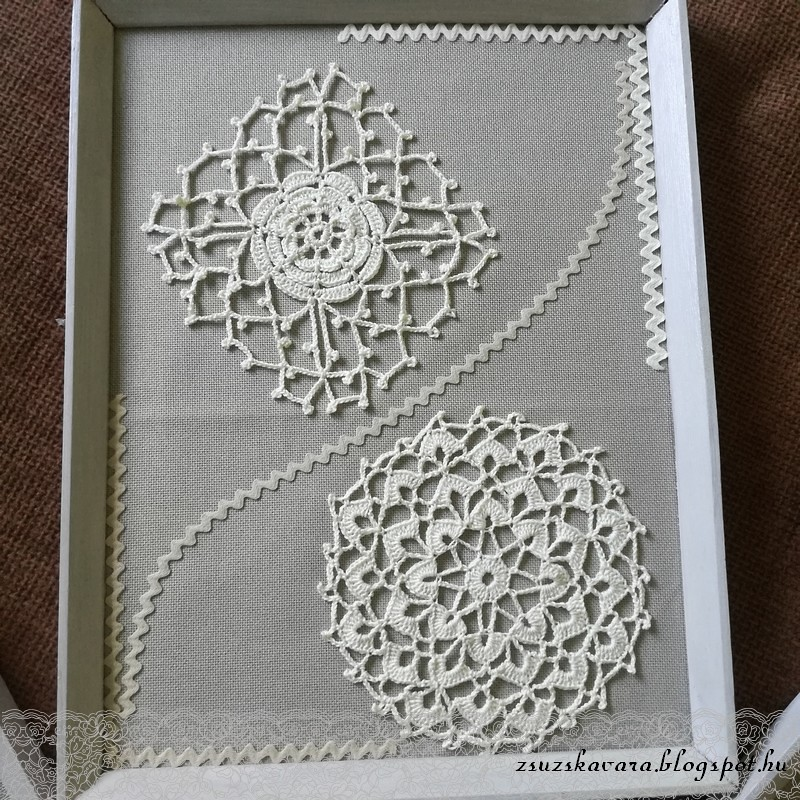 crochet flowers in frame