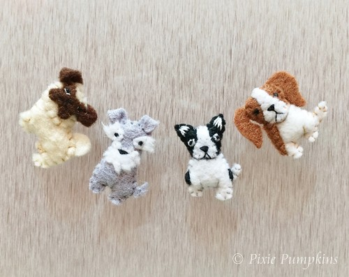 Miniature Felt Dogs