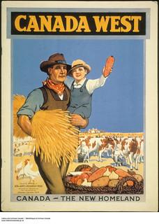 Canada West. Canada—The New Homeland. Poster advertising Western Canada to immigrants /  L'Ouest canadien. Le Canada — la nouvelle patrie. Affiche faisant la promotion de l'Ouest canadien auprès des immigrants