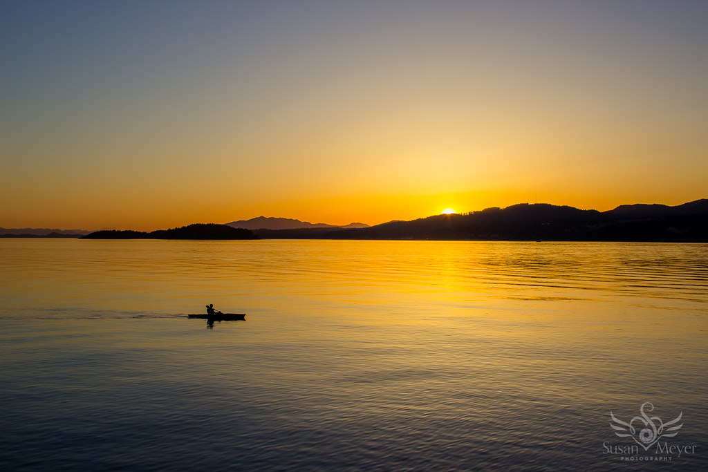 Sunset Paddler at Davis Bay