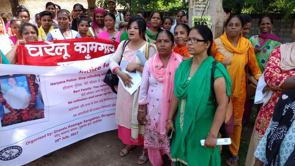 2017-7-20 India: Protest at Gurgaon about Sabina Case-rape and murder of a minor domestic worker case