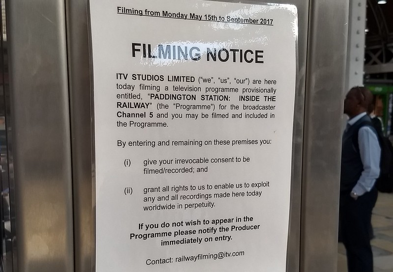 Paddington Station, London: filming notice