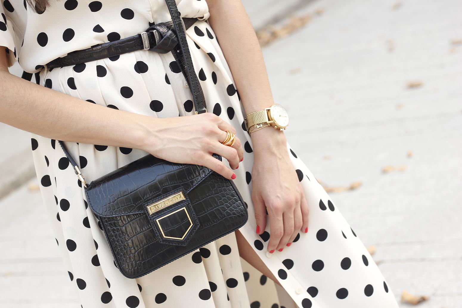 Maxi dress polka dots uterqüe converse givenchy bag summer outfit summer14