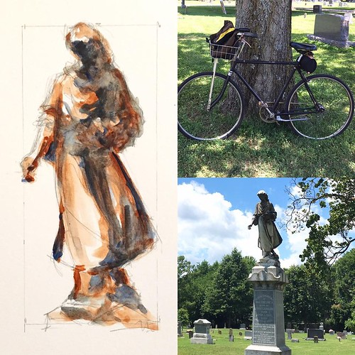 Had an hour to kill, plein air sketching in Hazelwood Cemetery