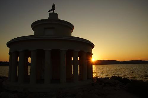 greece kefalonia sunset fanari lighthouse water sea coast ionian building architecture