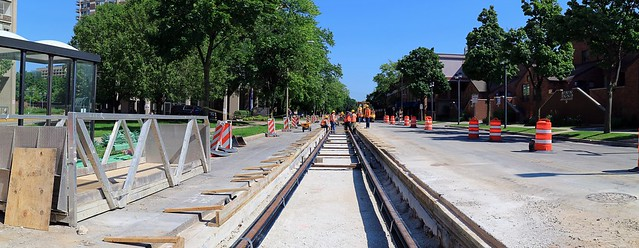Streetcar Track Construction, North Jackson Street and East State Street (Looking North)
