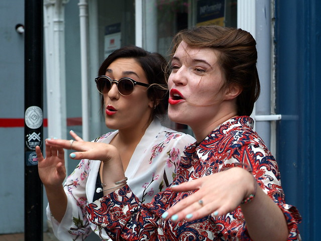 Natalie & Harriet (Company B - UK) busking in Cowes, July 2017