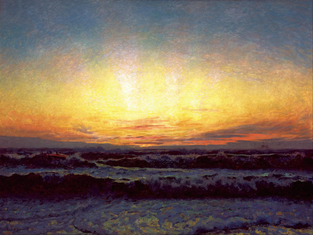 The North Sea in Stormy Weather. After Sunset by Laurits Tuxen, 1909