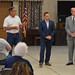 """State Reps. John Fusco and Rob Sampson, and State Senator Joe Markley talk with constituents during a """"town hall"""" event at the Calendar House in Southington."""