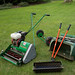 A fine display of serious lawn maintenance kit in Lady Anne's garden