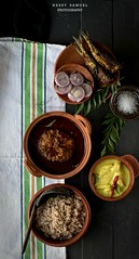 Kerala Matta Rice with Hake Fish Curry, Fried Sardines,Vazhakka Pulissery/Moru Curry(Raw plantain cooked in sour Yogurt )