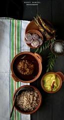 Kerala Matta Rice with Hake Fish Curry, Fried Sardines,Vazhakka Pulissery/Moru Curry(Raw plantain cooked in sour Yogurt )