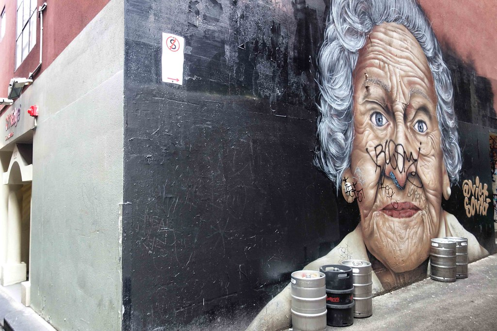 Melbourne - Street Art - Old Lady