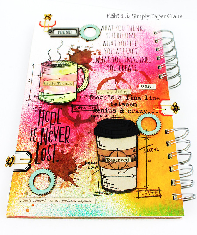 Meihsia Liu Simply Paper Crafts Mixed Media Art Journal Drink Coffee Simon Says Stamp Tim Holtz