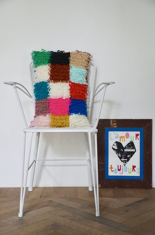woodwoolstool handmade pillow