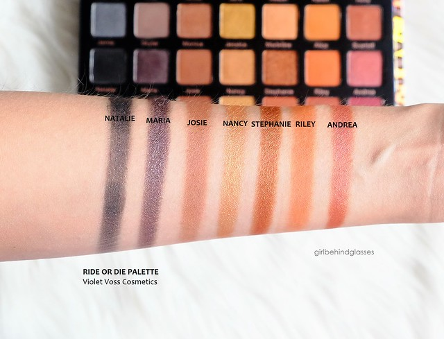 Violet Voss Cosmetics Ride or Die Palette Row 5 swatches