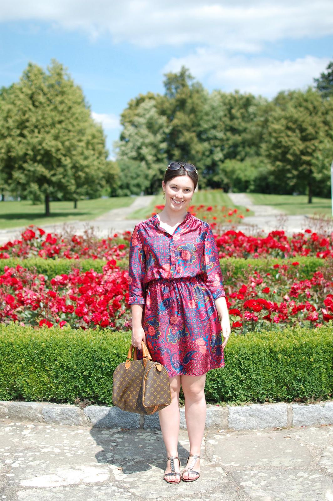 Silk vintage inspired dress travel lifestyle fashion blogger UK