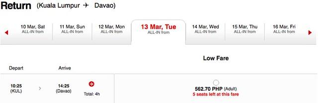 AirAsia Kuala Lumpur to Davao Promo