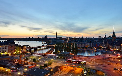 stockholm panorama sunset dusk skyline building city architecture light clouds sky water sea bridge street slussen