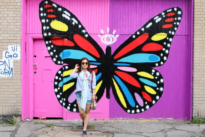 denim-shorts-button-down-shirt-butterfly-wall-8