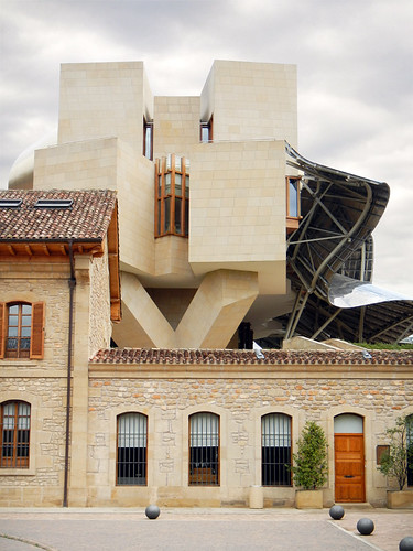 Frank Gehry architecture in Elciego, a hotel attached to a Marqués de Riscal in La Rioja, Spain