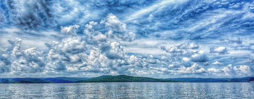 clouds sky bay tablerocklake lake missouri blueskies point landscape water
