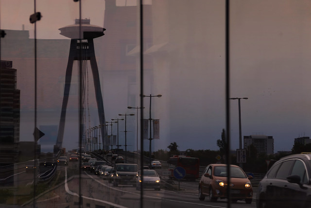 Arriving in Bratislava on the UFO bridge