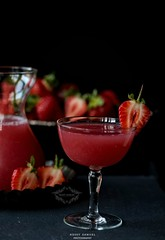 Raspberry Lemonade Garnished with Strawberry
