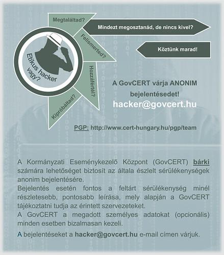 GovCERT anonim sérülékenység bejelentő program