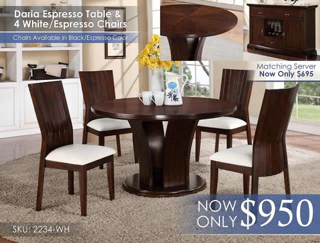 Daria Espresso and White Chairs Table Set 2234-WH