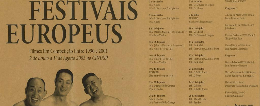 Seleção dos Festivais Europeus - Filmes em Competição entre 1990 e 2001