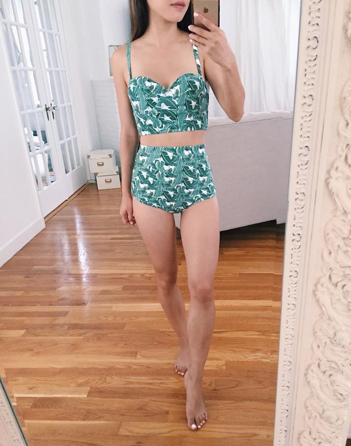 palm leaf print retro high waist bikini swimsuit kingdom state