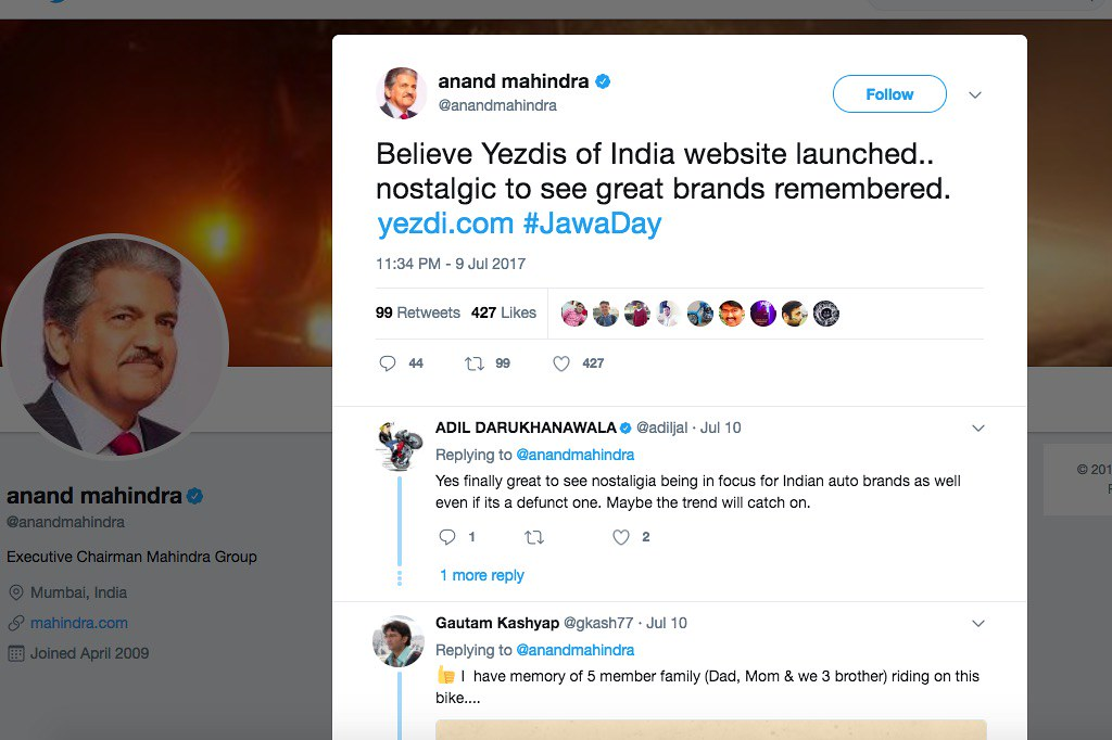 Anand Mahindra's Tweet about Yezdi