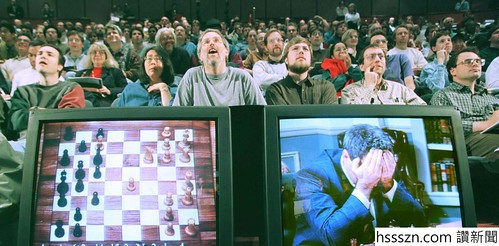 KASPAROV IS SEEN ON A MONITOR IN GAME SIX LOSS TO IBM DEEP BLUE