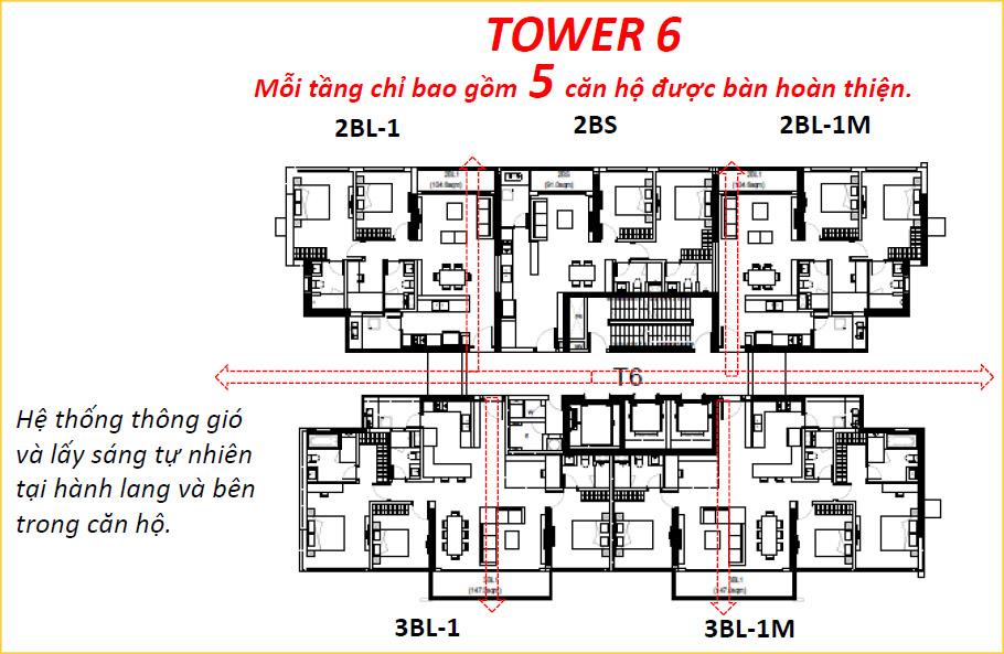 Mặt bằng tháp 6 căn hộ The View quận 7.