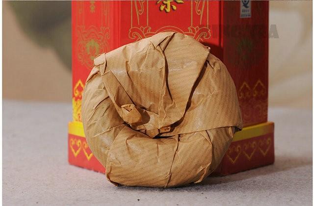 Free Shipping 2006 XiaGuan MaBei Red Boxed Tuo Bowl Nest 100g*5=500g YunNan MengHai Organic Pu'er Raw Tea Weight Loss Slim Beauty Sheng Cha