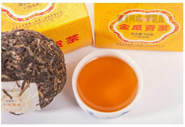 Free Shipping 2011 XiaGuan JinGua Boxed Tuo Bowl 100g YunNan MengHai Organic Pu'er Raw Tea Weight Loss Slim Beauty Sheng Cha