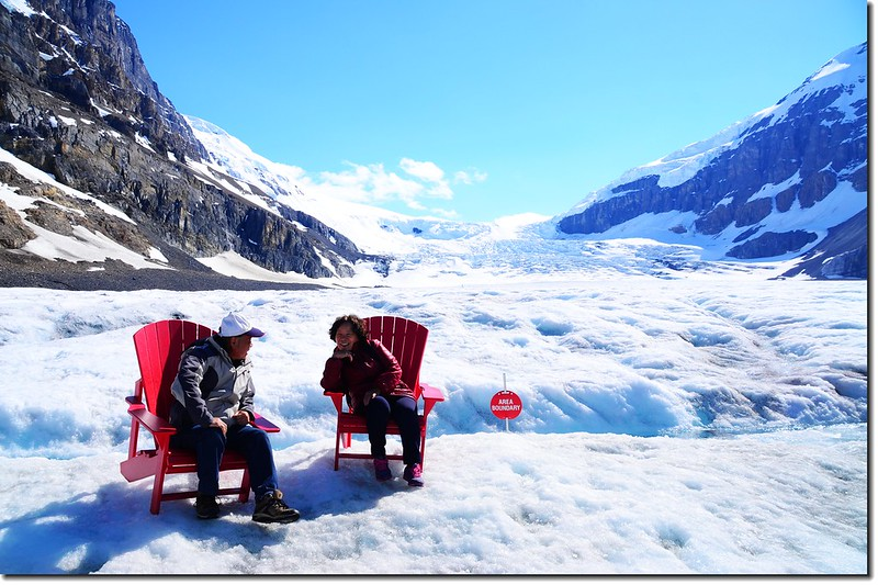 Red chairs On Athabasca Glacier (3)