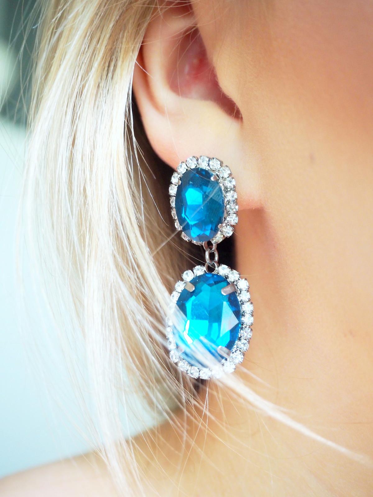 Jovelly siniset korvakorut